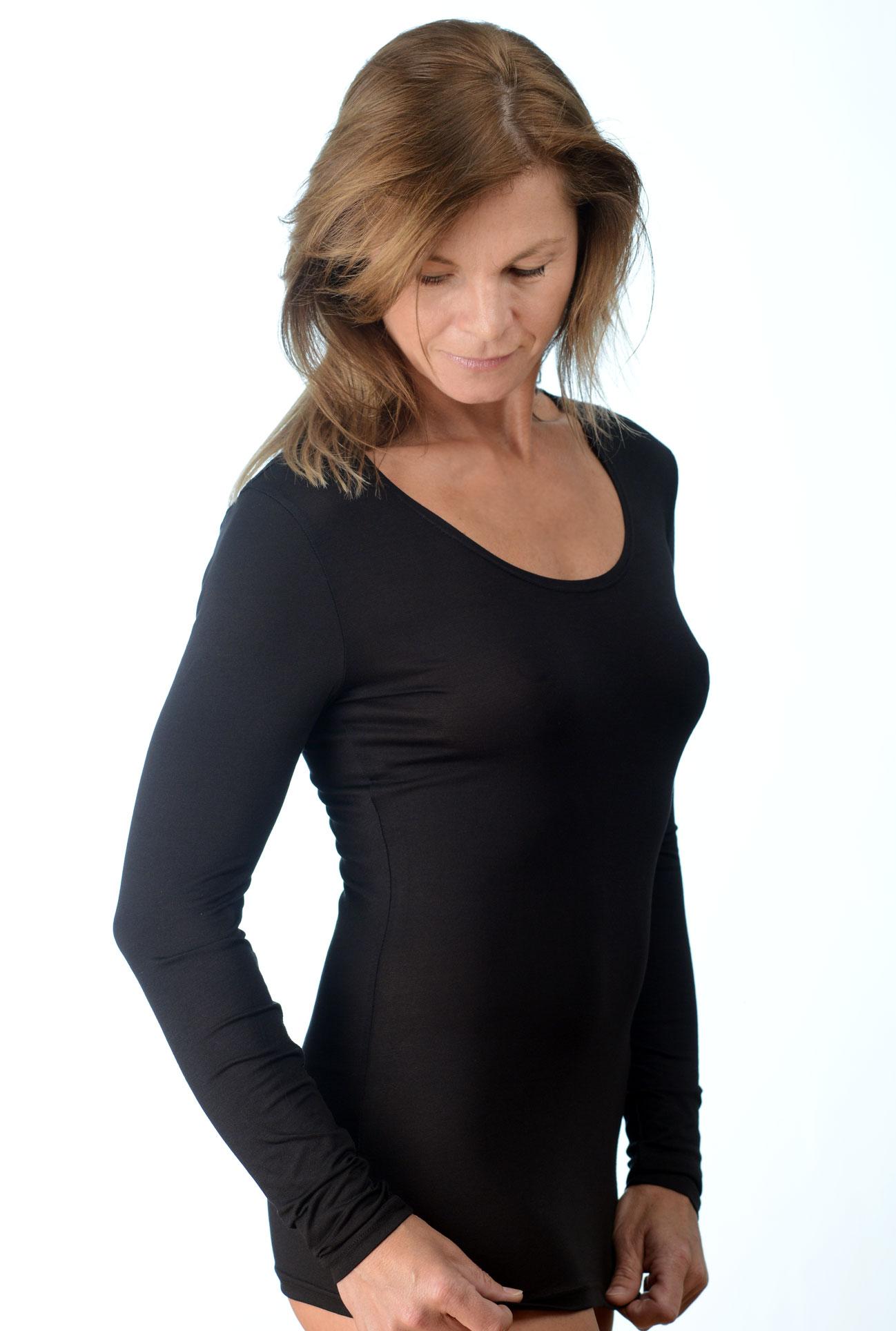 Dámské černé tričko - dlouhý rukáv
