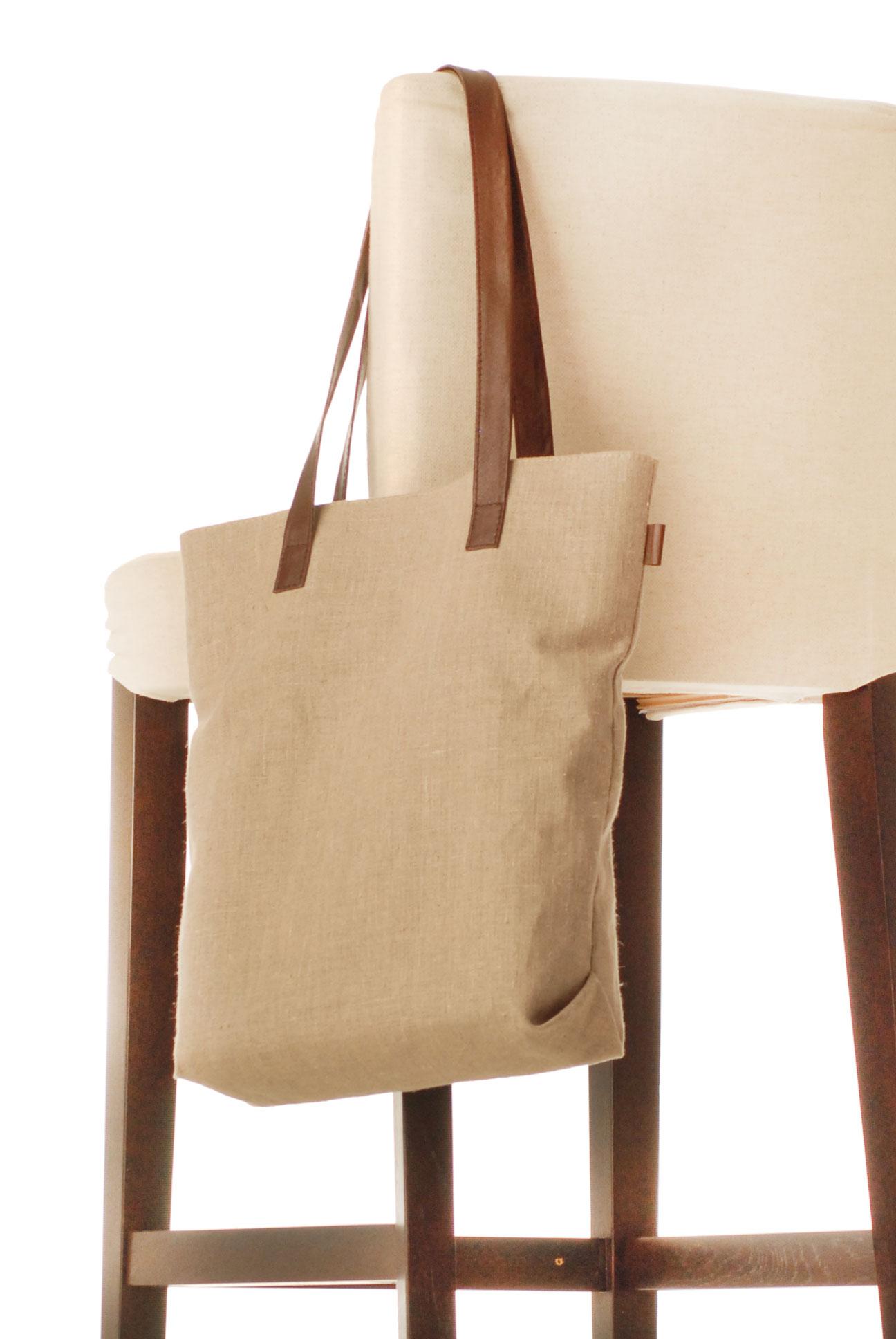 Lněná taška s kůží