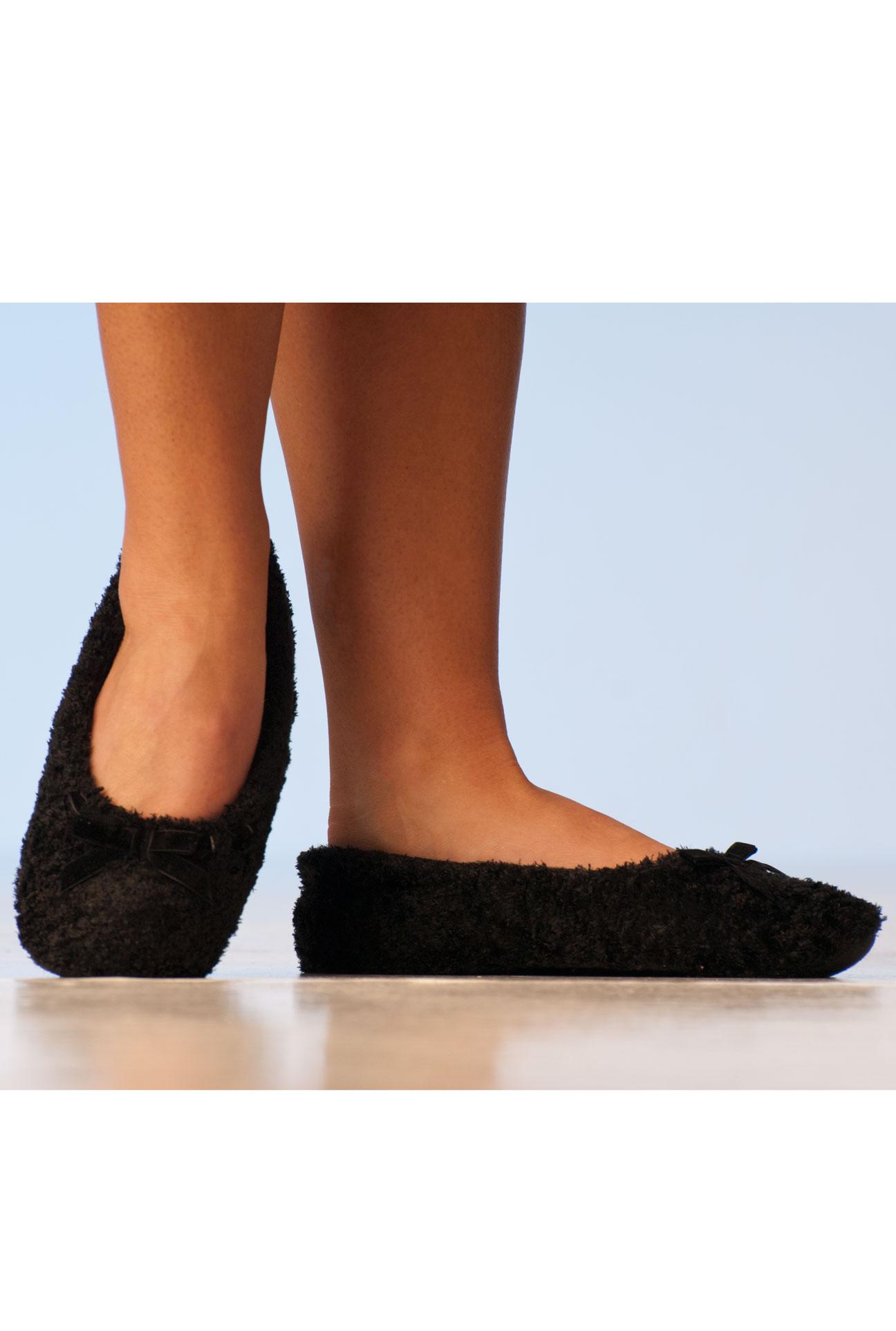 Papuče – černé baleríny s mašličkou