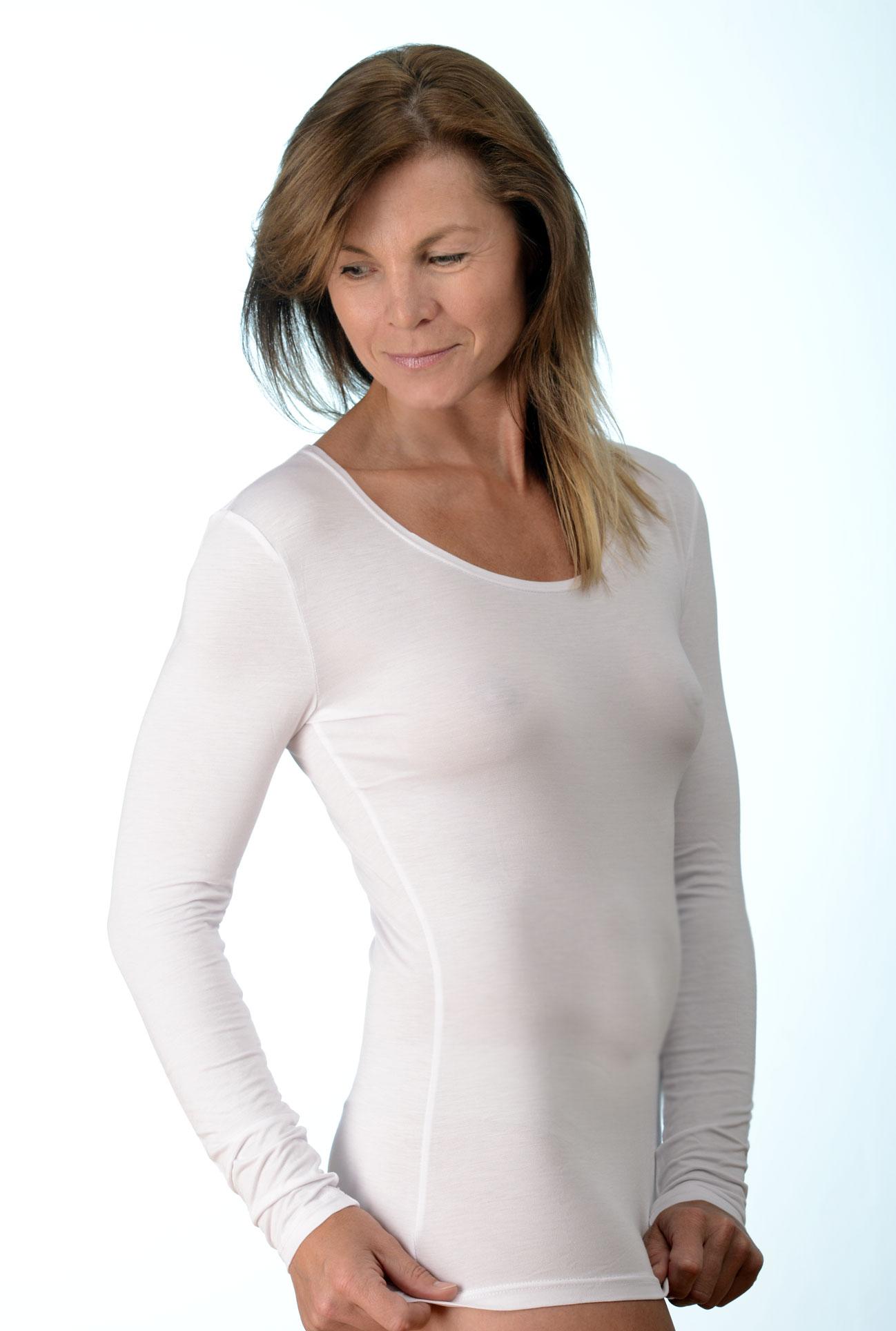 Dámské bílé tričko - dlouhý rukáv