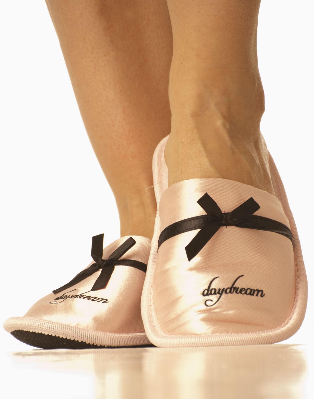 Saténové nazouvací papuče - růžové